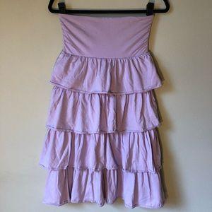 JCrew Lilac Strapless Ruffle Dress